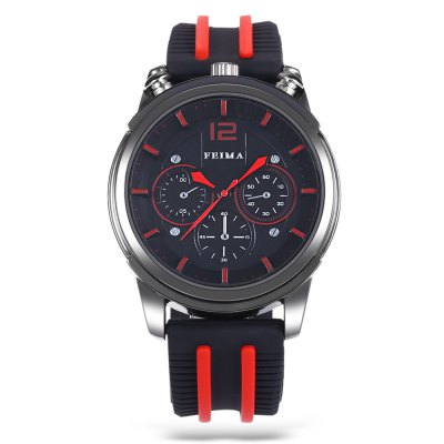 FEIMA 1209 Fashion Men Quartz WatchMens Watches<br>FEIMA 1209 Fashion Men Quartz Watch<br><br>Available Color: Black,Blue,Red,White<br>Band material: Silicone<br>Band size: 27.2 x 2.5 cm / 10.71 x 0.98 inches<br>Brand: FEIMA<br>Case material: Alloy<br>Clasp type: Pin buckle<br>Dial size: 4.7 x 4.7 x 1.8 cm / 1.85 x 1.85 x 0.71 inches<br>Display type: Analog<br>Movement type: Quartz watch<br>Package Contents: 1 x FEIMA 1209 Fashion Men Quartz Watch, 1 x Box<br>Package size (L x W x H): 8.50 x 8.00 x 5.30 cm / 3.35 x 3.15 x 2.09 inches<br>Package weight: 0.142 kg<br>Product size (L x W x H): 27.20 x 4.70 x 1.80 cm / 10.71 x 1.85 x 0.71 inches<br>Product weight: 0.082 kg<br>Shape of the dial: Round<br>Watch style: Fashion<br>Watches categories: Male table<br>Wearable length: 19.8 - 24.6 cm / 7.80 - 9.69 inches