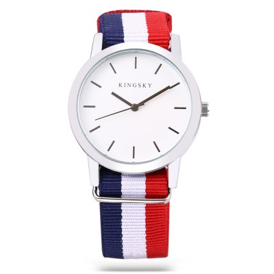 KINGSKY 8209M Fashion Unisex Quartz WatchUnisex Watches<br>KINGSKY 8209M Fashion Unisex Quartz Watch<br><br>Brand: Kingsky<br>People: Female table,Male table<br>Watch style: Fashion<br>Available color: Black,White<br>Shape of the dial: Round<br>Movement type: Quartz watch<br>Display type: Analog<br>Case material: Alloys<br>Band material: Canvas<br>Clasp type: Pin buckle<br>Dial size: 3.9 x 3.9 x 1.3 cm / 1.54 x 1.54 x 0.51 inches<br>Band size: 25.5 x 2 cm / 10.04 x 0.79 inches<br>Wearable length: 15 - 22.5 cm / 5.91 - 8.86 inches<br>Product weight: 0.036 kg<br>Package weight: 0.096 kg<br>Product size (L x W x H): 25.50 x 3.90 x 1.30 cm / 10.04 x 1.54 x 0.51 inches<br>Package size (L x W x H): 8.50 x 8.00 x 5.30 cm / 3.35 x 3.15 x 2.09 inches<br>Package Contents: 1 x KINGSKY 8209M Fashion Unisex Quartz Watch, 1 x Box