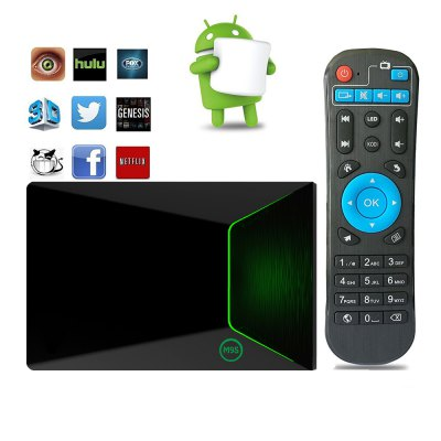 M9S Z9 Android TV Box 2GB RAMTV Box<br>M9S Z9 Android TV Box 2GB RAM<br><br>5G WiFi: Yes<br>Audio format: WMA, OGG, AAC, AC3, APE, DTS, FLAC, HD, MP3, WAV, TrueHD<br>Bluetooth: Bluetooth4.0<br>Core: Octa Core<br>CPU: Cortex A53, Amlogic S912<br>Decoder Format: H.265<br>External Subtitle Supported: No<br>GPU: ARM Mali-T820MP3<br>HDMI Function: CEC<br>HDMI Version: 2.0<br>Interface: AV, DC Power Port, USB2.0, RJ45, HDMI<br>Language: Multi-language<br>Max. Extended Capacity: 32G<br>Model: Z9<br>Other Functions: 3D Games, 3D Video<br>Package Contents: 1 x M9S Z9 TV Box, 1 x Remote Control, 1 x HDMI Cable, 1 x Power Adapter, 1 x English Manual<br>Package size (L x W x H): 21.00 x 14.00 x 6.00 cm / 8.27 x 5.51 x 2.36 inches<br>Package weight: 0.4700 kg<br>Photo Format: PNG, JPEG, BMP, GIF, TIFF<br>Power Comsumption: 5V 2A<br>Power Supply: Charge Adapter<br>Power Type: External Power Adapter Mode<br>Product size (L x W x H): 10.00 x 10.00 x 3.50 cm / 3.94 x 3.94 x 1.38 inches<br>Product weight: 0.3500 kg<br>RAM: 2G<br>RAM Type: DDR3<br>Remote Controller Battery: 2 x AAA Battery (Not included)<br>RJ45 Port Speed: Max. 100M<br>ROM: 16G<br>Support 5.1 Surround Sound Output: Yes<br>System: Android 6.0<br>System Activation: Yes<br>System Bit: 64Bit<br>Type: TV Box<br>Video format: DAT, VOB, TS, RMVB, WMV, RM, MPG, MPEG, MOV, MKV, ISO, FLV, 4K x 2K, ASF, AVI