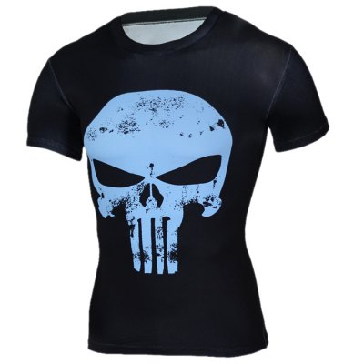 3D Skull Print Black And White T Shirt Mens