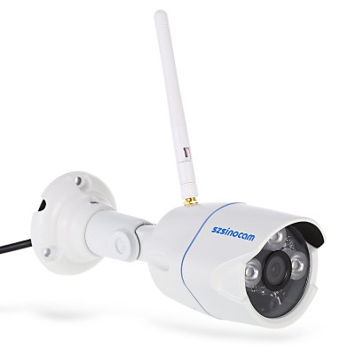 Szsinocam SN - IPC - 3014FSW10 Security Alarm IP CameraIP Cameras<br>Szsinocam SN - IPC - 3014FSW10 Security Alarm IP Camera<br><br>Alarm Notice: Email Photo<br>APP: Camviews<br>APP Language: Chinese,English<br>Backlight Compensation: No<br>Brand: Szsinocam<br>Color: White<br>Compatible Operation Systems: Microsoft Windows 98 / ME / 2000 / XP,Microsoft Windows 98/ ME /2000/ XP,Windows 10,Windows 7,Windows 8,Windows Vista<br>Environment: Indoor<br>FOV: 72 degree<br>Image Adjustment: Brightness,Color saturation,Contrast,Hue<br>Infrared Distance: 20M<br>Infrared LED: 3pcs Array LEDs<br>IP camera performance: Motion Detection, Screenshot, Real-time video capture and recording, Night Vision<br>IP Mode : static IP address, Dynamic IP address<br>Language: Chinese,English<br>Maximum Monitoring Range: 20M<br>Minimum Illumination: 0.01 Lux<br>Mobile Access: Android,IOS<br>Model: SN - IPC - 3014FSW10<br>Motion Detection Distance: 30m<br>Network Port: RJ-45<br>Operate Temperature (?): -20 - 50 Celsius degrees<br>Operating system: Microsoft Windows 2000,Microsoft Windows 7,Microsoft Windows 8,Microsoft Windows 98,Microsoft Windows Vista,Microsoft Windows XP<br>Package Contents: 1 x IP Camera, 3 x Screw, 3 x Expansion Bolt, 1 x Screw Driver, 1 x Antenna, 1 x Power Adapter, 1 x English User Manual, 1 x CD<br>Package size (L x W x H): 20.50 x 11.00 x 11.50 cm / 8.07 x 4.33 x 4.53 inches<br>Package weight: 0.577 kg<br>Pixels: 1MP<br>Product size (L x W x H): 18.00 x 7.00 x 6.00 cm / 7.09 x 2.76 x 2.36 inches<br>Product weight: 0.357 kg<br>Protocol: DDNS,DHCP,FTP,HTTP,LAN,ONVIF,P2P,RTSP,SMTP<br>Resolution: 1280 x 720<br>Sensor: CMOS<br>Sensor size (inch): 1/4<br>Shape: Bullet Camera<br>Technical Feature: Waterproof, Infrared<br>Video Compression Format: H.264<br>Video format: AVI<br>Video Standard: NTSC,PAL<br>Waterproof: IP66<br>Web Browser: IE,Microsoft Internet Explorer 6.0 above<br>White Balance: No<br>WiFi Distance : 30M<br>Working Voltage: 12V / 1A