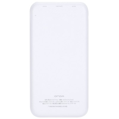 Onda N100T Plus 10000mAh Power BankPower Banks<br>Onda N100T Plus 10000mAh Power Bank<br><br>Battery Type: Li-Polymer Battery<br>Brand: Onda<br>Capacity (mAh): 10000mAh<br>Capacity Range: 7500-10000mAh<br>Color: Black,Blue,Pink,White<br>Connection Type: 8 pin, Micro USB, Two USB Output Interface<br>Input: 5V 2A ( Micro USB ), 5V 1.5A ( 8 Pin )<br>Material: ABS<br>Model: N100T Plus<br>Output: 5V 2A, 5V 1A<br>Package Contents: 1 x Power Bank, 1 x USB Cable, 1 x Chinese Manual<br>Package size (L x W x H): 20.50 x 11.70 x 4.10 cm / 8.07 x 4.61 x 1.61 inches<br>Package weight: 0.346 kg<br>Product size (L x W x H): 14.70 x 7.30 x 1.40 cm / 5.79 x 2.87 x 0.55 inches<br>Product weight: 0.223 kg<br>Type: Backup Power Banks
