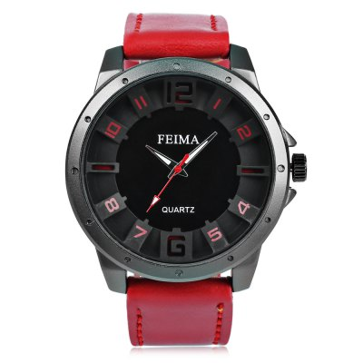 FEIMA 1214 Fashion Men Quartz WatchMens Watches<br>FEIMA 1214 Fashion Men Quartz Watch<br><br>Available Color: Black,Blue,Red,White<br>Band material: PU Leather<br>Band size: 26.4 x 2.2 cm / 10.39 x 0.87 inches<br>Brand: FEIMA<br>Case material: Alloy<br>Clasp type: Pin buckle<br>Dial size: 4.6 x 4.6 x 1.5 cm / 1.81 x 1.81 x 0.59 inches<br>Display type: Analog<br>Movement type: Quartz watch<br>Package Contents: 1 x FEIMA 1214 Fashion Men Quartz Watch, 1 x Box<br>Package size (L x W x H): 8.50 x 8.00 x 5.30 cm / 3.35 x 3.15 x 2.09 inches<br>Package weight: 0.115 kg<br>Product size (L x W x H): 26.40 x 4.60 x 1.50 cm / 10.39 x 1.81 x 0.59 inches<br>Product weight: 0.055 kg<br>Shape of the dial: Round<br>Watch style: Fashion<br>Watches categories: Male table<br>Wearable length: 20.2 - 24.2 cm / 7.95 - 9.52 inches