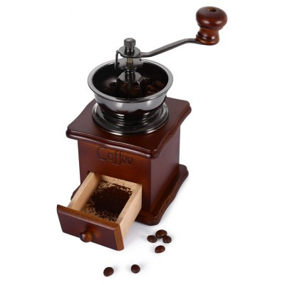 Classical Style Wooden Bottom Manually Muller with Cast Iron Movement Coffee Grinder