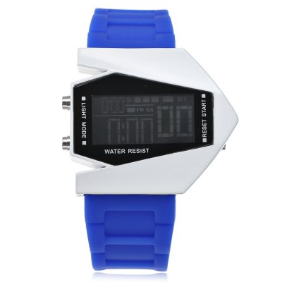 Plane Model Colorful LED WatchLED Watches<br>Plane Model Colorful LED Watch<br><br>Available Color: Black,Blue,Coffee,Green,Red,White<br>Band material: Silicone<br>Band size: 25 x 2.6 cm / 9.06 x 1.02 inches<br>Case material: ABS<br>Clasp type: Pin buckle<br>Dial size: 4.8 x 4.3 x 0.9 cm / 1.89 x 1.69 x 0.39 inches<br>Display type: LED lamp<br>Movement type: Digital watch<br>Package Contents: 1 x Plane Model Colorful LED Watch<br>Package size (L x W x H): 26.00 x 5.80 x 1.90 cm / 10.24 x 2.28 x 0.75 inches<br>Package weight: 0.115 kg<br>People: Children table,Female table,Male table<br>Product size (L x W x H): 25.00 x 4.80 x 0.90 cm / 9.84 x 1.89 x 0.35 inches<br>Product weight: 0.075 kg<br>Shape of the dial: Rectangle<br>Watch style: Fashion<br>Wearable length: 18.8 - 23 cm / 7.40 - 9.06 inches