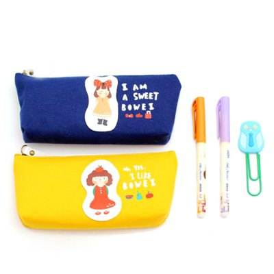 Lovely Girl Style Canvas Pen PouchOther Supplies<br>Lovely Girl Style Canvas Pen Pouch<br><br>Features: Lovely<br>Color: Cadet Blue,Lake blue,Pink,Yellow<br>Product weight: 0.051 kg<br>Package weight: 0.140 kg<br>Product size (L x W x H): 19.00 x 8.00 x 4.00 cm / 7.48 x 3.15 x 1.57 inches<br>Package size (L x W x H): 20.00 x 9.00 x 5.00 cm / 7.87 x 3.54 x 1.97 inches<br>Package Contents: 1 x Pen Pouch