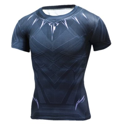Breathable 3D Print Short Sleeves Tight Fitness T-shirt