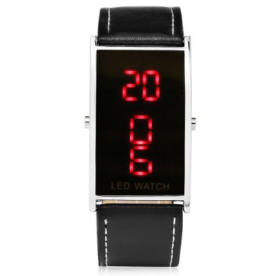 Fashion LED WatchUnisex Watches<br>Fashion LED Watch<br><br>People: Female table,Male table<br>Watch style: Fashion<br>Available color: Black<br>Shape of the dial: Rectangle<br>Movement type: Digital watch<br>Display type: LED lamp<br>Case material: Alloy<br>Band material: Leather<br>Clasp type: Pin buckle<br>Dial size: 5 x 3 x 1.2 cm / 1.97 x 1.18 x 0.47 inches<br>Band size: 22 x 2.6 cm / 8.66 x 1.02 inches<br>Wearable length: 18.2 - 20.5 cm / 7.16 - 8.07 inches<br>Product weight: 0.020 kg<br>Package weight: 0.060 kg<br>Product size (L x W x H): 22.00 x 5.00 x 1.20 cm / 8.66 x 1.97 x 0.47 inches<br>Package size (L x W x H): 23.00 x 6.00 x 2.20 cm / 9.06 x 2.36 x 0.87 inches<br>Package Contents: 1 x Fashion LED Watch