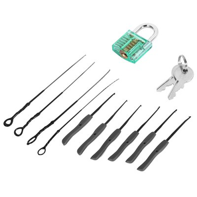 Mini Transparent Visual Practice Lock Tool SetLock Picks and Tools<br>Mini Transparent Visual Practice Lock Tool Set<br><br>Materials: Acrylic, Steel<br>Package Contents: 1 x Transparent Lock, 2 x Key, 10 x Extractor<br>Package size (L x W x H): 13.00 x 9.00 x 4.00 cm / 5.12 x 3.54 x 1.57 inches<br>Package weight: 0.100 kg<br>Packing Type: Kits<br>Product weight: 0.050 kg<br>Special function: Studying how the lock works