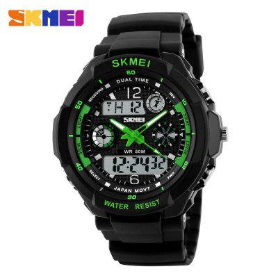 Skmei 0931 LED Sports Watch with Double Japan Movts Waterproof Design and Plastic Watch Band