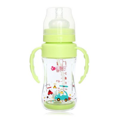 REIZBABY Glass Baby Straw Milk Bottle with Anti-slip Handle