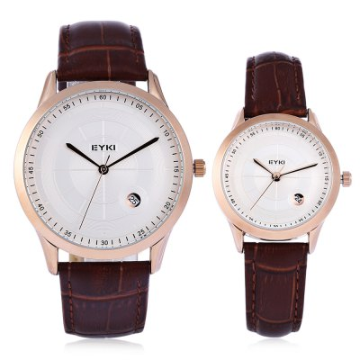 EYKI 1070 Fashion Couple WatchesCouples Watches<br>EYKI 1070 Fashion Couple Watches<br><br>Available Color: Black,Brown,White<br>Band material: Leather<br>Brand: Eyki<br>Case material: Alloy<br>Clasp type: Pin buckle<br>Display type: Analog<br>Movement type: Quartz watch<br>Package Contents: 1 x EYKI 1070 Fashion Couple Watches, 1 x Box<br>Package size (L x W x H): 8.50 x 8.00 x 5.30 cm / 3.35 x 3.15 x 2.09 inches<br>Package weight: 0.123 kg<br>Shape of the dial: Round<br>The female dial dimension (L x W x H): 2.8 x 2.8 x 0.7 cm / 1.10 x 1.10 x 0.28 inches<br>The female size (L x W x H): 22 x 2.8 x 0.7 cm / 8.66 x 1.10 x 0.28 inches<br>The female watch band dimension (L x W): 22 x 1.4 cm / 8.66 x 0.55 inches<br>The female watch weight: 21g<br>The male dial dimension (L x W x H): 4 x 4 x 0.8 cm / 1.57 x 1.57 x 0.31 inches<br>The male watch band dimension (L x W): 25.3 x 2 cm / 9.96 x 0.79 inches<br>The male watch size (L x W x H): 25.3 x 4 x 0.8 cm / 9.96 x 1.57 x 0.31 inches<br>The male watch weight: 42g<br>Watch style: Fashion<br>Watches categories: Couple tables