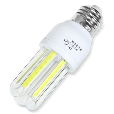 E27 7W 560LM COB U-shaped LED BulbCorn Bulbs<br>E27 7W 560LM COB U-shaped LED Bulb<br><br>Available Light Color: White<br>CCT/Wavelength: 6000K<br>Emitter Types: COB<br>Features: Long Life Expectancy, Energy Saving<br>Function: Studio and Exhibition Lighting, Commercial Lighting, Home Lighting<br>Holder: E27<br>Lifespan: 50000h or more<br>Luminous Flux: 560LM<br>Output Power: 7W<br>Package Contents: 1 x U-shaped LED Bulb<br>Package size (L x W x H): 13.00 x 5.00 x 5.00 cm / 5.12 x 1.97 x 1.97 inches<br>Package weight: 0.073 kg<br>Product size (L x W x H): 11.00 x 4.00 x 4.00 cm / 4.33 x 1.57 x 1.57 inches<br>Product weight: 0.040 kg<br>Sheathing Material: Glass, Plastic<br>Type: U Shaped Light<br>Voltage (V): AC 85-265
