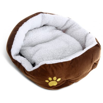 Trendy Plush Pet Bed with Removable Pet Pad for Dog Cat Ferret (Coffee)