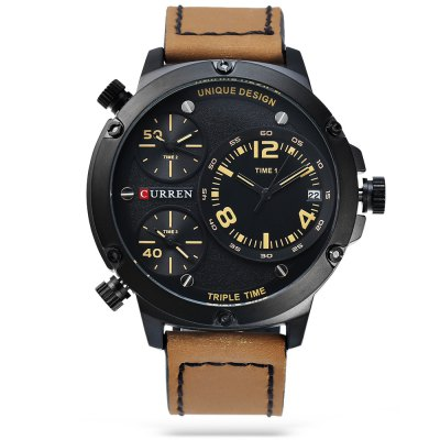 CURREN 8262 Casual Men Quartz WatchMens Watches<br>CURREN 8262 Casual Men Quartz Watch<br><br>Band material: Leather<br>Band size: 28 x 2.3 cm / 11.02 x 0.91 inches<br>Brand: Curren<br>Case material: Alloy<br>Clasp type: Pin buckle<br>Dial size: 5.2 x 5.2 x 1.5 cm / 2.05 x 2.05 x 0.59 inches<br>Display type: Analog<br>Movement type: Multiple Movt<br>Package Contents: 1 x CURREN 8262 Casual Men Quartz Watch, 1 x Box , 1 x CURREN 8262 Casual Men Quartz Watch, 1 x Box<br>Package size (L x W x H): 12.00 x 8.00 x 8.00 cm / 4.72 x 3.15 x 3.15 inches, 12.00 x 8.00 x 8.00 cm / 4.72 x 3.15 x 3.15 inches<br>Package weight: 0.233 kg, 0.233 kg<br>Product size (L x W x H): 28.00 x 5.20 x 1.50 cm / 11.02 x 2.05 x 0.59 inches, 28.00 x 5.20 x 1.50 cm / 11.02 x 2.05 x 0.59 inches<br>Product weight: 0.103 kg, 0.103 kg<br>Shape of the dial: Round<br>Watch color: White + Brown, Coffee + Orange, Coffee + Yellow, Black + Red, Black + Orange<br>Watch style: Casual<br>Watches categories: Male table<br>Wearable length: 20.2 - 25 cm / 7.95 - 9.84 inches
