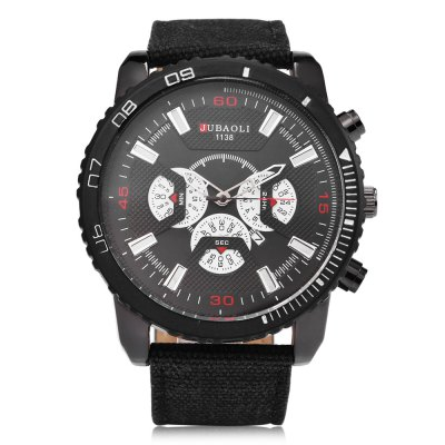 JUBAOLI 1138 Casual Men Quartz WatchMens Watches<br>JUBAOLI 1138 Casual Men Quartz Watch<br><br>Available Color: Army green,Black,Blue,White<br>Band material: Canvas<br>Band size: 26.8 x 2.6 cm / 10.55 x 1.02 inches<br>Brand: Jubaoli<br>Case material: Alloy<br>Clasp type: Pin buckle<br>Dial size: 5.2 x 5.2 x 1.8 cm / 2.05 x 2.05 x 0.71 inches<br>Display type: Analog<br>Movement type: Quartz watch<br>Package Contents: 1 x JUBAOLI 1138 Casual Men Quartz Watch, 1 x Box<br>Package size (L x W x H): 8.50 x 8.00 x 5.30 cm / 3.35 x 3.15 x 2.09 inches<br>Package weight: 0.146 kg<br>Product size (L x W x H): 26.80 x 5.20 x 1.80 cm / 10.55 x 2.05 x 0.71 inches<br>Product weight: 0.086 kg<br>Shape of the dial: Round<br>Special features: Decorative sub-dial<br>Watch style: Casual<br>Watches categories: Male table<br>Water resistance : Life water resistant<br>Wearable length: 18.6 - 24.4 cm / 7.32 - 9.61 inches