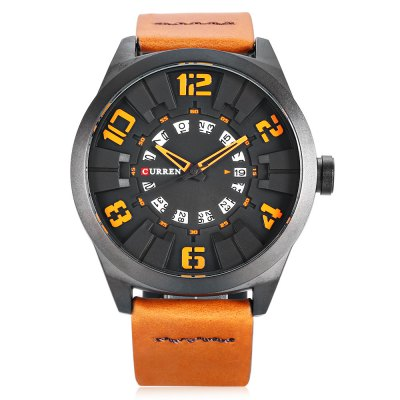 CURREN 8258 Casual Men Quartz WatchMens Watches<br>CURREN 8258 Casual Men Quartz Watch<br><br>Band material: Leather<br>Band size: 27.2 x 2.4 cm / 10.71 x 0.94 inches<br>Brand: Curren<br>Case material: Alloy<br>Clasp type: Pin buckle<br>Dial size: 4.8 x 4.8 x 1.5 cm / 1.89 x 1.89 x 0.59 inches<br>Display type: Analog<br>Movement type: Quartz watch<br>Package Contents: 1 x CURREN 8258 Casual Men Quartz Watch, 1 x Box<br>Package size (L x W x H): 11.30 x 8.30 x 6.80 cm / 4.45 x 3.27 x 2.68 inches<br>Package weight: 0.228 kg<br>Product size (L x W x H): 27.20 x 4.80 x 1.50 cm / 10.71 x 1.89 x 0.59 inches<br>Product weight: 0.089 kg<br>Shape of the dial: Round<br>Watch color: Black + Red, Black + Blue, Coffee + White, Orange, Coffee + Red, White + Orange<br>Watch style: Casual<br>Watches categories: Male table<br>Wearable length: 19.2 - 23.4 cm / 7.56 - 9.21 inches