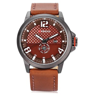 CURREN 8253 Casual Men Quartz WatchMens Watches<br>CURREN 8253 Casual Men Quartz Watch<br><br>Band material: Leather<br>Band size: 26.5 x 2.3 cm / 10.43 x 0.91 inches<br>Brand: Curren<br>Case material: Alloy<br>Clasp type: Pin buckle<br>Dial size: 4.8 x 4.8 x 1.2 cm / 1.89 x 1.89 x 0.47 inches<br>Display type: Analog<br>Movement type: Quartz watch<br>Package Contents: 1 x CURREN 8253 Casual Men Quartz Watch, 1 x Box<br>Package size (L x W x H): 11.30 x 8.30 x 6.80 cm / 4.45 x 3.27 x 2.68 inches<br>Package weight: 0.205 kg<br>Product size (L x W x H): 26.50 x 4.80 x 1.20 cm / 10.43 x 1.89 x 0.47 inches<br>Product weight: 0.076 kg<br>Shape of the dial: Round<br>Special features: Date, Day<br>Watch color: White + Black, Black + Red, Yellow + Black, Beige + Black, White + Brown<br>Watch style: Casual<br>Watches categories: Male table<br>Water resistance : Life water resistant<br>Wearable length: 19 - 24 cm / 7.48 - 9.45 inches