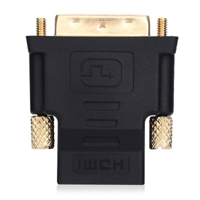 Gold-plated HDMI Female to DVI 24+1 Male AdapterCables &amp; Connectors<br>Gold-plated HDMI Female to DVI 24+1 Male Adapter<br><br>Compatible with: Macbook, Notebook<br>DC Port: No<br>Interface: DVI, HDMI<br>Package Contents: 1 x HDMI Female to DVI 24+1 Male Adapter<br>Package size (L x W x H): 8.50 x 7.20 x 2.50 cm / 3.35 x 2.83 x 0.98 inches<br>Package weight: 0.045 kg<br>Product size (L x W x H): 4.50 x 3.80 x 1.50 cm / 1.77 x 1.5 x 0.59 inches<br>Product weight: 0.033 kg<br>Type: Adapter