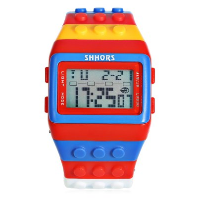 SHHORS SH - 715 LED WatchLED Watches<br>SHHORS SH - 715 LED Watch<br><br>Band material: Silicone<br>Band size: 20 x 3 cm / 7.87 x 1.18 inches<br>Brand: Shhors<br>Case material: ABS<br>Clasp type: Hidden clasp<br>Dial size: 4.5 x 2.9 x 0.5 cm / 1.77 x 1.14 x 0.20 inches<br>Display type: Digital<br>Movement type: Digital watch<br>Package Contents: 1 x SHHORS SH - 715 LED Watch<br>Package size (L x W x H): 21.00 x 5.50 x 1.50 cm / 8.27 x 2.17 x 0.59 inches<br>Package weight: 0.120 kg<br>People: Children table,Female table,Male table<br>Product size (L x W x H): 20.00 x 4.50 x 0.50 cm / 7.87 x 1.77 x 0.2 inches<br>Product weight: 0.071 kg<br>Shape of the dial: Rectangle<br>Special features: Stopwatch, EL Back-light, Alarm Clock<br>Watch color: Blue + Red, Red + Black, Black + Orange, Black + Pink<br>Watch style: Outdoor Sports<br>Water resistance : 30 meters