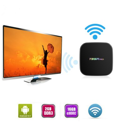 Sunvell T95Rpro Android Smart Live Streaming TV BoxTV Box<br>Sunvell T95Rpro Android Smart Live Streaming TV Box<br><br>5G WiFi: Yes<br>Audio format: OGA, OGG, WAV, TrueHD, MPEG, MP3, FLAC, ACC<br>Bluetooth: Bluetooth4.0<br>Brand: Sunvell<br>Color: Black<br>Core: Octa Core, 2.0GHz<br>CPU: ARM Cortex-A53<br>Decoder Format: Xvid/DivX4/5/6, RM/RMVB, RealVideo8/9/10, HD MPEG1/2/4, Xvid/DivX3/4/5/6, HD MPEG1/2/4, H.264, HD AVC/VC-1, H.265/AVC<br>External Subtitle Supported: No<br>GPU: ARM Mali-T820MP3<br>HDMI Version: 2.0<br>Interface: USB2.0, Optical, SD Card Slot, RJ45, AV, DC Power Port, HDMI<br>Language: Multi-language<br>Model: T95Rpro<br>Other Functions: Others<br>Package Contents: 1 x Sunvell T95Rpro TV Box, 1 x Remote Control, 1 x HDMI Cable, 1 x Power Adapter, 1 x English Manual<br>Package size (L x W x H): 21.00 x 14.00 x 5.50 cm / 8.27 x 5.51 x 2.17 inches<br>Package weight: 0.5200 kg<br>Photo Format: BMP, TIFF, PNG, GIF, JPEG<br>Power Adapter Output: 5V 2A<br>Power Input Vol: 5V<br>Power Supply: Charge Adapter<br>Power Type: External Power Adapter Mode<br>Processor: Amlogic S912<br>Product size (L x W x H): 13.00 x 13.00 x 3.00 cm / 5.12 x 5.12 x 1.18 inches<br>Product weight: 0.4000 kg<br>RAM: 2G RAM<br>RAM Type: DDR3<br>ROM: 16G ROM<br>Support 5.1 Surround Sound Output: No<br>System: Android 6.0<br>System Bit: 64Bit<br>Type: TV Box<br>Video format: 4K, 1080P, RMVB, VP9, 4K x 2K, AVC, AVI, MPG, MVC, RM, MPEG2, VP9 Profile-2, VP9-10 Profile-2, WMV, MPEG1, MPEG-4, MPEG-1, MPEG, MOV, MP4, MKV, MJPEG, FLV, AVS, MPEG4