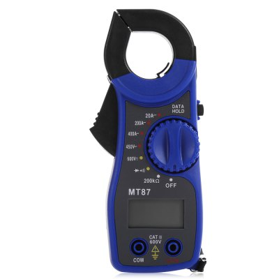 MT87 Digital Clamp MeterMultimeters &amp; Fitting<br>MT87 Digital Clamp Meter<br><br>AC Current: 20 - 400A<br>AC Voltage: 450V<br>DC Voltage: 600V<br>Max. Display: 1999<br>Model: MT87<br>Package Contents: 1 x Digital Clamp Multimeter, 1 x 70cm Test Pen ( Pair ), 1 x English User Manual<br>Package size (L x W x H): 18.00 x 10.00 x 4.00 cm / 7.09 x 3.94 x 1.57 inches<br>Package weight: 0.197 kg<br>Product size (L x W x H): 14.50 x 5.00 x 2.50 cm / 5.71 x 1.97 x 0.98 inches<br>Product weight: 0.122 kg<br>Resistance : 200K Ohm