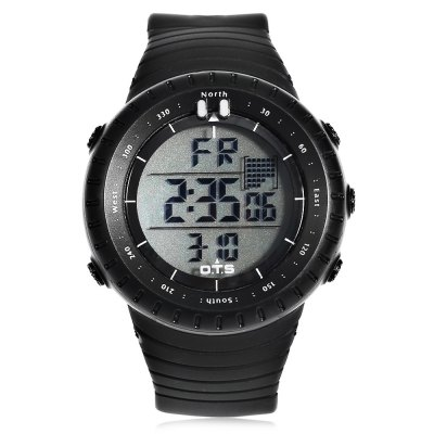 OTS T7005G Men Sports LED WatchSports Watches<br>OTS T7005G Men Sports LED Watch<br><br>Available Color: Black,Gray<br>Band material: Rubber<br>Band size: 28 x 2.4 cm / 11.02 x 0.94 inches<br>Brand: OTS<br>Case material: ABS<br>Clasp type: Pin buckle<br>Dial size: 5 x 5 x 1.6 cm / 1.97 x 1.97 x 0.63 inches<br>Display type: Digital<br>Movement type: Digital watch<br>Package Contents: 1 x OTS T7005G Men Sports LED Watch<br>Package size (L x W x H): 29.00 x 6.00 x 6.60 cm / 11.42 x 2.36 x 2.6 inches<br>Package weight: 0.093 kg<br>People: Male table<br>Product size (L x W x H): 28.00 x 5.00 x 1.60 cm / 11.02 x 1.97 x 0.63 inches<br>Product weight: 0.057 kg<br>Shape of the dial: Round<br>Special features: Alarm Clock, Stopwatch, EL Back-light, Date, Day<br>Watch style: Outdoor Sports<br>Water resistance : 50 meters<br>Wearable length: 18.5 - 27 cm / 7.28 - 10.63 inches