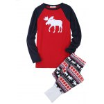 Buy Christmas Gift Cute Deer Print Parents-child Pajamas Suit RED