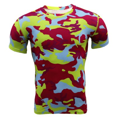 Military Camo Print Tight T-shirt