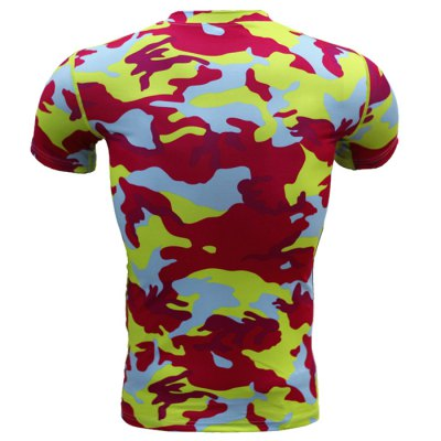Military Camo Print Tight T-shirtWeight Lifting Clothes<br>Military Camo Print Tight T-shirt<br><br>Color: Black,Blue,Camouflage,Rose Red<br>Features: Breathable, High elasticity, Quick Dry<br>Gender: Men<br>Material: Polyester<br>Package Content: 1 x T-shirt<br>Package size: 40.00 x 30.00 x 1.00 cm / 15.75 x 11.81 x 0.39 inches<br>Package weight: 0.220 kg<br>Product weight: 0.160 kg<br>Size: 2XL,3XL,L,M,S,XL<br>Types: Short Sleeves