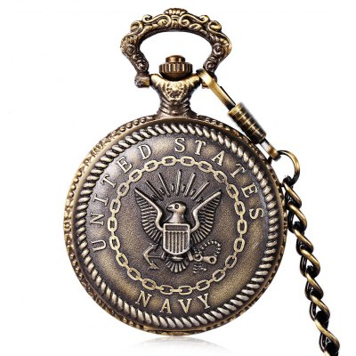 US Navy Flag Bronze Quartz Pocket Flip Chain Table