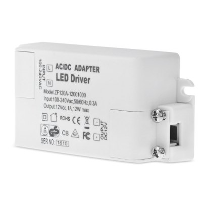 12W DC 12V 1A LED Power SupplyLED Accessories<br>12W DC 12V 1A LED Power Supply<br><br>Accessory type: LED Power source<br>Available Color: White<br>Output Current: 1A<br>Output Voltage: DC 12V<br>Package Contents: 1 x LED Driver<br>Package size (L x W x H): 8.50 x 4.30 x 3.30 cm / 3.35 x 1.69 x 1.3 inches<br>Package weight: 0.080 kg<br>Product size (L x W x H): 7.50 x 3.30 x 2.30 cm / 2.95 x 1.3 x 0.91 inches<br>Product weight: 0.046 kg