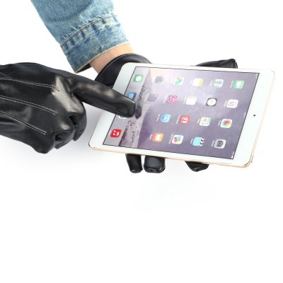 Men PU Leather Touch Screen Winter Gloves for Cycling