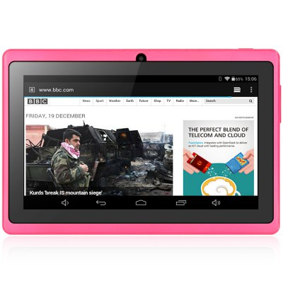 Q88H Kid Tablet PCFeatured Tablets<br>Q88H Kid Tablet PC<br><br>Type: Kids Tablet<br>OS: Android 4.4<br>CPU Brand: All Winner<br>CPU: A33<br>GPU: Mali-400 MP<br>Core: 1.3GHz<br>RAM: 512MB<br>ROM: 8GB<br>External Memory: TF card up to 32GB (not included)<br>WIFI: 802.11b/g/n wireless internet<br>Support Network: WiFi<br>Screen size: 7 inch<br>IPS: Yes<br>Screen resolution: 1024 x 600 (WSVGA)<br>Camera type: Dual cameras (one front one back)<br>Back camera: 0.3MP<br>Front camera: 0.3MP<br>TF card slot: Yes<br>Micro USB Slot: Yes<br>3.5mm Headphone Jack: Yes<br>Battery Capacity: 3.7V / 2000mAh<br>AC adapter: 100-240V 5V 2A<br>G-sensor: Supported<br>Skype: Supported<br>Youtube: Supported<br>Speaker: Supported<br>MIC: Supported<br>Google Play Store: Yes<br>Picture format: BMP,GIF,JPEG,PNG<br>Music format: AAC,MP3,OGG,WAV,WMA<br>Video format: 3GP,AVI,MP4,RMVB,WMV<br>MS Office format: Excel,PPT,Word<br>Languages support : Android OS supports multi-language<br>Product size: 18.30 x 12.00 x 0.80 cm / 7.2 x 4.72 x 0.31 inches<br>Package size: 24.00 x 16.00 x 6.00 cm / 9.45 x 6.3 x 2.36 inches<br>Product weight: 0.2780 kg<br>Package weight: 0.6540 kg<br>Tablet PC: 1<br>Tablet Case: 1<br>USB Cable: 1<br>English Manual : 1
