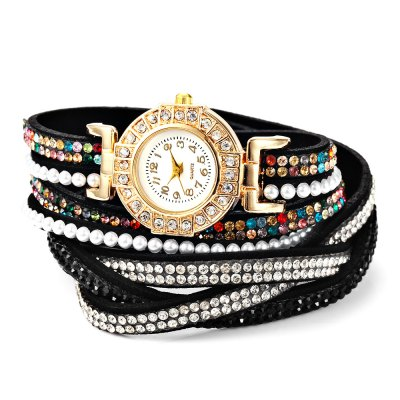 Fashion Two-loop Rhinestone Strap Lady Quartz Watch BraceletWomens Watches<br>Fashion Two-loop Rhinestone Strap Lady Quartz Watch Bracelet<br><br>Band material: PU Leather<br>Band size: 39 x 2 cm / 15.35 x 0.79 inches<br>Case material: Alloy<br>Clasp type: Buckle<br>Dial size: 2.5 x 2.5 x 0.5 cm / 0.98 x 0.98 x 0.20 inches<br>Display type: Analog<br>Movement type: Quartz watch<br>Package Contents: 1 x Fashion Two-loop Lady Quartz Watch Bracelet<br>Package size (L x W x H): 18.00 x 3.50 x 2.60 cm / 7.09 x 1.38 x 1.02 inches<br>Package weight: 0.066 kg<br>Product size (L x W x H): 39.00 x 2.50 x 0.50 cm / 15.35 x 0.98 x 0.2 inches<br>Product weight: 0.026 kg<br>Shape of the dial: Round<br>Watch color: Cyan, Light Brown, Coffee, Red, White, Black<br>Watch style: Bracelet Style<br>Watches categories: Female table