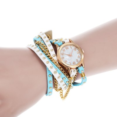 Punk Style Three-loop Lady Quartz Watch BraceletWomens Watches<br>Punk Style Three-loop Lady Quartz Watch Bracelet<br><br>Band material: PU Leather<br>Band size: 56.5 x 1.2 cm / 22.24 x 0.47 inches<br>Case material: Alloy<br>Clasp type: Buckle<br>Dial size: 2.7 x 2.7 x 0.5 cm / 1.06 x 1.06 x 0.20 inches<br>Display type: Analog<br>Movement type: Quartz watch<br>Package Contents: 1 x Punk Style Three-loop Lady Quartz Watch Bracelet<br>Package size (L x W x H): 12.00 x 3.70 x 1.50 cm / 4.72 x 1.46 x 0.59 inches<br>Package weight: 0.057 kg<br>Product size (L x W x H): 56.50 x 2.70 x 0.50 cm / 22.24 x 1.06 x 0.2 inches<br>Product weight: 0.027 kg<br>Shape of the dial: Round<br>Watch color: Blue + White, Red + Black, Red + White, Deep Blue + White<br>Watch style: Bracelet Style<br>Watches categories: Female table