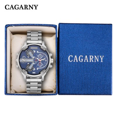 Cagarny 6820 Dual Movt Silver Case Men Quartz WatchMens Watches<br>Cagarny 6820 Dual Movt Silver Case Men Quartz Watch<br><br>Available Color: Deep Blue,Gray<br>Band material: Steel<br>Band size: 23 x 2.4 cm / 9.06 x 0.94 inches<br>Brand: Cagarny<br>Case material: Stainless Steel<br>Clasp type: Folding clasp with safety<br>Dial size: 5.2 x 5.2 x 2 cm / 2.05 x 2.05 x 0.79 inches<br>Display type: Analog<br>Movement type: Quartz watch<br>Package Contents: 1 x Cagarny 6820 Men Quartz Watch<br>Package size (L x W x H): 10.00 x 7.50 x 7.00 cm / 3.94 x 2.95 x 2.76 inches<br>Package weight: 0.226 kg<br>Product size (L x W x H): 23.00 x 5.20 x 2.00 cm / 9.06 x 2.05 x 0.79 inches<br>Product weight: 0.176 kg<br>Shape of the dial: Round<br>Watch style: Fashion<br>Watches categories: Male table<br>Water resistance : Life water resistant