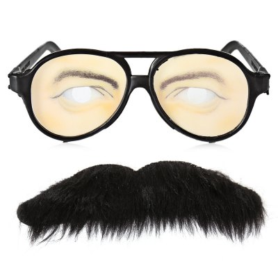 Self-adhesive Mustache + Eye Glasses Set for Party
