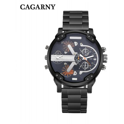 Cagarny 6820 Dual Movt Men Black Case Quartz Watch