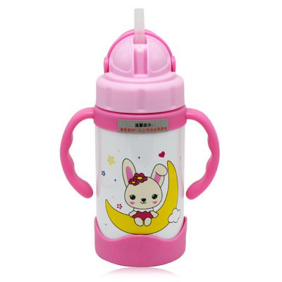 bobei elephant Cute Baby Infant 300ml Straw Bottle PP Material