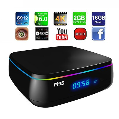 M9S MIX Smart TV Android BoxTV Box &amp; Mini PC<br>M9S MIX Smart TV Android Box<br><br>5G WiFi: Yes<br>Audio format: AC3, MP3, AAC, APE, DTS, FLAC, HD, OGG, TrueHD, WMA<br>Bluetooth: Bluetooth4.0<br>Color: Black<br>Core: Octa Core<br>CPU: Amlogic S912<br>Decoder Format: H.265<br>DVD Support: Yes<br>External Subtitle Supported: No<br>GPU: ARM Mali-T820MP3<br>HDMI Function: HDCP, CEC<br>HDMI Version: 1.4<br>Interface: AV, HDMI, RJ45, DC Power Port, USB2.0<br>Language: Multi-language<br>Max. Extended Capacity: 32G<br>Model: MIX<br>Other Functions: 3D Video, 3D Games<br>Package Contents: 1 x M9S MIX TV Box, 1 x Remote Control, 1 x HDMI Cable, 1 x Power Adapter, 1 x English Manual<br>Package size (L x W x H): 18.50 x 11.50 x 7.00 cm / 7.28 x 4.53 x 2.76 inches<br>Package weight: 0.4700 kg<br>Photo Format: BMP, JPEG, PNG, TIFF<br>Power Comsumption: 5V 2A<br>Power Supply: Charge Adapter<br>Power Type: External Power Adapter Mode<br>Product size (L x W x H): 10.00 x 10.00 x 3.50 cm / 3.94 x 3.94 x 1.38 inches<br>Product weight: 0.3500 kg<br>RAM: 2G<br>RAM Type: DDR3<br>RJ45 Port Speed: Max. 100M<br>ROM: 16G<br>Support 5.1 Surround Sound Output: Yes<br>System: Android 6.0<br>System Bit: 64Bit<br>Type: TV Box<br>Video format: ASF, DAT, 4K x 2K, FLV, AVI, ISO, MKV, MOV, MPEG, MPG, RM, RMVB, TS, WMV, VOB