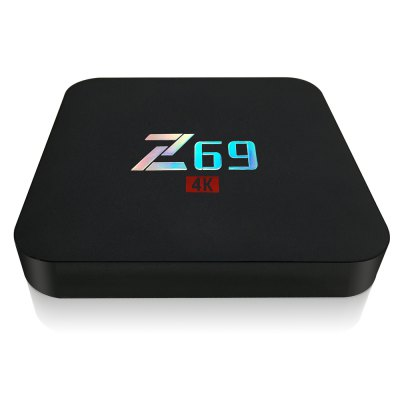 Z69 TV BoxTV Box<br>Z69 TV Box<br><br>5G WiFi: No<br>Antenna: No<br>Audio format: WAV, FLAC, DTS, DDP, APE, AAC, AC3, WMA, HD, OGG, TrueHD, MP3<br>Bluetooth: Bluetooth4.0<br>Camera: Without<br>Color: Black<br>Core: Quad Core<br>CPU: Amlogic S905X<br>Decoder Format: H.265, H.264<br>DVD Support: No<br>GPU: Mali-450<br>HDMI Version: 2.0<br>Interface: DC Power Port, USB2.0, TF card, SPDIF, RJ45, OTG<br>Language: Multi-language<br>Max. Extended Capacity: 64G<br>Model: Z69<br>Other Functions: Airplay<br>Package Contents: 1 x Z69 TV Box, 1 x Remote Control, 1 x HDMI Cable, 1 x Power Adapter, 1 x English Manual<br>Package size (L x W x H): 20.00 x 12.00 x 18.00 cm / 7.87 x 4.72 x 7.09 inches<br>Package weight: 0.4500 kg<br>Photo Format: GIF, JPEG, PNG, TIFF, BMP<br>Power Comsumption: 0.5-7W<br>Power Supply: Charge Adapter<br>Power Type: External Power Adapter Mode<br>Processor: ARM Cortex A53<br>Product size (L x W x H): 10.00 x 10.50 x 15.00 cm / 3.94 x 4.13 x 5.91 inches<br>Product weight: 0.1650 kg<br>RAM: 2G RAM<br>RAM Type: DDR3<br>RJ45 Port Speed: 100M<br>ROM: 16G ROM<br>System: Android 6.0<br>System Bit: 64Bit<br>Type: TV Box<br>Video format: H.265, VP9-10 Profile-2, VC-1, RMVB, RM, MPEG4, AVC, MPEG2, MPEG1, 4K<br>WiFi Chip: RTL8723BS