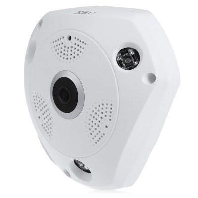 XSC 960P 1.3MP WiFi 360 Degree Panorama VR IP CameraIP Cameras<br>XSC 960P 1.3MP WiFi 360 Degree Panorama VR IP Camera<br><br>Alarm Notice: Email Photo<br>APP: VR CAM<br>APP Language: Chinese,English<br>Audio Input: Built-in mic.<br>Color: White<br>Compatible Operation Systems: Android,IOS,Microsoft Windows 98 / ME / 2000 / XP,Windows 10,Windows 7,Windows 8,Windows Vista<br>FOV: 360 Degree<br>Frame Rate (FPS): 1 - 25fps<br>Infrared Distance: 5 -10m<br>Infrared LED: 4psc LEDs<br>IP camera performance: Night Vision, Motion Detection<br>IP Mode : static IP address, Dynamic IP address<br>Language: Chinese,English<br>Local-storage: Micro SD card up to 64GB<br>Maximum Monitoring Range: 30m<br>Minimum Illumination: 0.1 Lux<br>Mobile Access: Android,IOS<br>Model: XSC<br>Motion Detection Distance: 30M<br>Network Port: RJ-45<br>Operate Temperature (?): -10 - 50 Deg.C<br>Operating system: Microsoft Windows 2000,Microsoft Windows 7,Microsoft Windows 8,Microsoft Windows 98,Microsoft Windows ME,Microsoft Windows Vista,Microsoft Windows XP<br>Package Contents: 1 x IP Camera, 1 x Chinese / English User Manual, 1 x Power Cord, 3 x Screw, 2 x Screw Cap, 1 x Installation Accessory<br>Package size (L x W x H): 19.50 x 19.50 x 10.00 cm / 7.68 x 7.68 x 3.94 inches<br>Package weight: 0.687 kg<br>Pan/Tilt-Horizontal Angle (degree) : 360 degree<br>Pan/Tilt-Vertical Angle (degree) : 180 degree<br>Pixels: 1.3MP<br>Product size (L x W x H): 17.00 x 15.50 x 5.00 cm / 6.69 x 6.1 x 1.97 inches<br>Product weight: 0.243 kg<br>Protocol: DDNS,DHCP,FTP,HTTP,LAN,NTP,PPPOE,UPNP<br>Resolution: 1280 x 960<br>S/N Ration: 50dB<br>Shape: Mini Camera<br>Technical Feature: Pan/Tilt/Zoom, Infrared<br>Video Compression Format: H.264<br>Video format: MPEG-4<br>Video Standard: NTSC,PAL<br>Waterproof: No<br>WiFi Distance : 30M<br>Wireless: WiFi 802.11 b/g/n<br>Working Voltage: DC12V