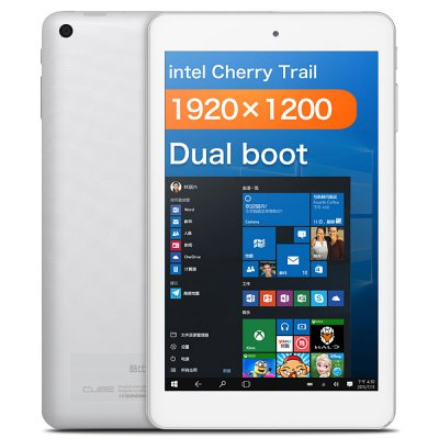 CUBE iWork8 Air Tablet PCTablet PCs<br>CUBE iWork8 Air Tablet PC<br><br>Brand: Cube<br>Type: Tablet PC<br>OS: Android 5.1,Windows 10<br>CPU Brand: Intel<br>CPU: Intel Cherry Trail x5-Z8350<br>GPU: Intel HD Graphic(Gen8)<br>Core: 1.44GHz,Quad Core<br>RAM: 2GB<br>ROM: 32GB<br>External Memory: TF card up to 128GB (not included)<br>Support Network: WiFi<br>WIFI: 802.11b/g/n wireless internet<br>Bluetooth: Yes<br>Screen type: Capacitive (5-Point),IPS<br>Screen size: 8 inch<br>Screen resolution: 1920 x 1200 (WUXGA)<br>Camera type: Dual cameras (one front one back)<br>Back camera: 2.0MP<br>Front camera: 2.0MP<br>TF card slot: Yes<br>Micro USB Slot: Yes<br>Micro HDMI: Yes<br>3.5mm Headphone Jack: Yes<br>Battery Capacity(mAh): 3.7V / 3500mAh<br>AC adapter: 100-240V 5V 2A<br>G-sensor: Supported<br>Skype: Supported<br>Youtube: Supported<br>Speaker: Supported<br>MIC: Supported<br>Google Play Store: Supported<br>Office 365: Support (Not Downloaded)<br>Picture format: BMP,GIF,JPEG,JPG,PNG<br>Music format: AAC,AC-3,APE,DTS (need license),FLAC,MP3,OGG,WAV,WMA<br>Video format: 1080P,AVS,H.263,H.264,H.265,MP4,MPEG1,MPEG2,MPEG4,MVC,RMVB,VC-1<br>MS Office format: Excel,PPT,Word<br>E-book format: PDF,PowerPoint,TXT,Word<br>Pre-installed Language: Windows OS is built-in Chinese and English, and other languages need to be downloaded by WiFi. Android OS supports multi-language<br>Additional Features: Bluetooth,Gravity Sensing System,HDMI,MP3,MP4,Wi-Fi<br>Product size: 21.30 x 12.70 x 0.98 cm / 8.39 x 5 x 0.39 inches<br>Package size: 26.00 x 17.00 x 5.50 cm / 10.24 x 6.69 x 2.17 inches<br>Product weight: 0.314 kg<br>Package weight: 0.605 kg<br>Tablet PC: 1<br>OTG Cable: 1<br>USB Cable: 1<br>English Manual : 1