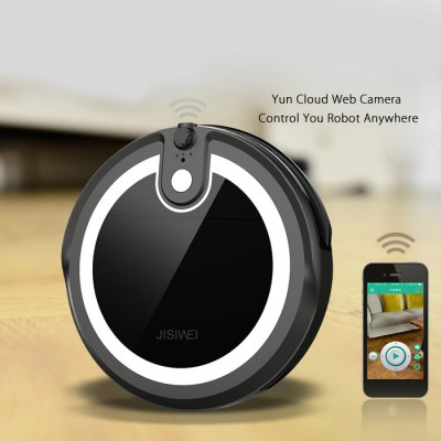 JISIWEI I3 Smart Robotic Vacuum CleanerRobot Vacuum<br>JISIWEI I3 Smart Robotic Vacuum Cleaner<br><br>Battery Capacity: 2200mAh<br>Battery Type: Li-ion battery<br>Brand: JISIWEI<br>Charging Time: 3h<br>Cleaning Area (sq.m.): 200sq.m.<br>Climb Capability: 1.5cm<br>Color: Gold,Gray,White<br>Dust Box Capacity: 600ml<br>Feature: Camera<br>Function: Mopping, Suction, Sweep, Wet and Dry<br>Noise (dB): Less than 65dB<br>Operation Range: Equal to or less than 10M<br>Package Contents: 1 x Vacuum Cleaner, 1 x Remote Controller, 1 x Charging Dock, 1 x Adapter, 1 x Cleaning Brush, 1 x Bristle Brush, 4 x Side Brush, 1 x Mopping Pad, 1 x English User Manual<br>Package size (L x W x H): 48.00 x 17.00 x 40.00 cm / 18.9 x 6.69 x 15.75 inches<br>Package weight: 4.3800 kg<br>Power (W): 30W<br>Product size (L x W x H): 33.00 x 36.00 x 7.00 cm / 12.99 x 14.17 x 2.76 inches<br>Product weight: 2.6600 kg<br>Remote Control: Yes<br>Self Recharging: Yes<br>Suction (pa): 800pa<br>Working Time: 2h