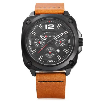CURREN 8260 Men Quartz WatchMens Watches<br>CURREN 8260 Men Quartz Watch<br><br>Band material: Leather<br>Band size: 26.7 x 2.3 cm / 10.51 x 0.91 inches<br>Brand: Curren<br>Case material: Alloy<br>Clasp type: Pin buckle<br>Dial size: 4.5 x 4.5 x 1.4 cm / 1.77 x 1.77 x 0.55 inches<br>Display type: Analog<br>Movement type: Quartz watch<br>Package Contents: 1 x CURREN 8260 Men Quartz Watch, 1 x Box<br>Package size (L x W x H): 10.80 x 8.30 x 6.80 cm / 4.25 x 3.27 x 2.68 inches<br>Package weight: 0.220 kg<br>Product size (L x W x H): 26.70 x 4.50 x 1.40 cm / 10.51 x 1.77 x 0.55 inches<br>Product weight: 0.090 kg<br>Shape of the dial: Square<br>Watch style: Casual, Fashion<br>Watches categories: Male table<br>Wearable length: 19.5 - 23.6 cm / 7.68 - 9.29 inches