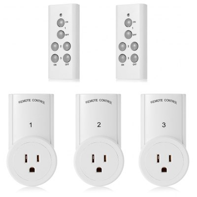 TS- 832 - 3 - 2 3pcs US Plug Wireless RC Outlet with 2pcs Remote Controller Set