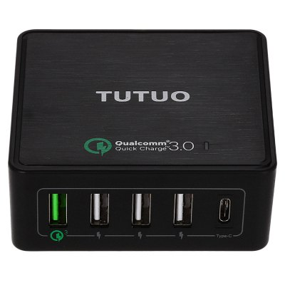 TUTUO QC 3.0 Power Charger DockChargers &amp; Cables<br>TUTUO QC 3.0 Power Charger Dock<br><br>Brand: TUTUO<br>Color: Black,White<br>Features: ALL-in-1<br>Input: 100 - 240V, 50 / 60Hz, 1A<br>Material ( Cable&amp;Adapter): ABS<br>Output: 3.6 - 6.5V 3A, 6.5 - 9V 2A, 9 - 12V 1.5A, 5V 2.4A ( smart output ), 5V 3A ( Type-C )<br>Package Contents: 1 x Power Dock, 1 x Power Cable, 1 x USB Cable, 1 x English Manual<br>Package size (L x W x H): 17.70 x 14.00 x 4.50 cm / 6.97 x 5.51 x 1.77 inches<br>Package weight: 0.333 kg<br>Plug: EU plug,US plug<br>Product size (L x W x H): 8.30 x 8.30 x 3.20 cm / 3.27 x 3.27 x 1.26 inches<br>Product weight: 0.117 kg<br>Type: Base Dock Charger