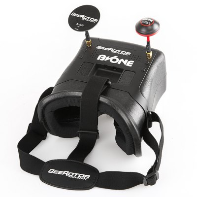 BEEROTOR BVONE FPV GogglesFPV Goggles &amp; Monitors<br>BEEROTOR BVONE FPV Goggles<br><br>Antenna: dual 5dBi antennas<br>Brand: BEEROTOR<br>FPV Equipments: FPV Goggles<br>Operating Voltage Range: 7 - 23V<br>Package Contents: 1 x Pair of Goggles, 1 x AV Cable, 1 x Power Cable, 1 x Female JST to Male XT60 Adapter, 1 x Chinese-English Manual, 1 x Mushroom Antenna, 1 x Flat Antenna<br>Package size (L x W x H): 25.00 x 19.00 x 13.00 cm / 9.84 x 7.48 x 5.12 inches<br>Package weight: 0.635 kg<br>Product size (L x W x H): 16.40 x 16.00 x 12.00 cm / 6.46 x 6.3 x 4.72 inches<br>Product weight: 0.230 kg<br>Resolution: 800 x 480px<br>Screen size: 5 inch<br>Sensitivity: -92dBm<br>TV System: PAL, Auto, NTSC<br>Working Time: 7 hours with 2200mAh battery