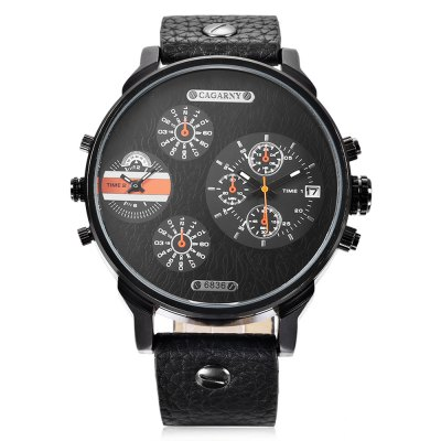 CAGARNY 6836 Men Quartz WatchMens Watches<br>CAGARNY 6836 Men Quartz Watch<br><br>Band material: Leather<br>Band size: 27.2 x 2.4 cm / 10.71 x 0.94 inches<br>Brand: Cagarny<br>Case material: Alloy<br>Clasp type: Pin buckle<br>Dial size: 5 x 5 x 2 cm / 1.97 x 1.97 x 0.79 inches<br>Display type: Analog<br>Movement type: Double-movtz<br>Package Contents: 1 x CAGARNY 6836 Men Quartz Watch, 1 x Box<br>Package size (L x W x H): 10.20 x 7.80 x 7.50 cm / 4.02 x 3.07 x 2.95 inches<br>Package weight: 0.183 kg<br>Product size (L x W x H): 27.20 x 5.00 x 2.00 cm / 10.71 x 1.97 x 0.79 inches<br>Product weight: 0.080 kg<br>Shape of the dial: Round<br>Watch style: Fashion<br>Watches categories: Male table<br>Wearable length: 19.8 - 24.8 cm / 7.80 - 9.76 inches